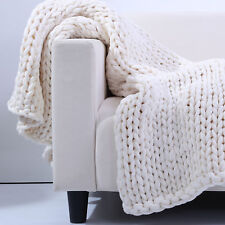 White Twice Knitted Chunky Throw Blanket, Heavy & Super Soft, Sailor Knot Design