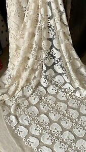 """0.5MTR CREAM EMBROIDERED STRETCH FLORAL BRIDAL LACE NET FABRIC 50"""" WIDE.."""