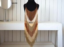 African beaded fringe necklace tribal handmade fashion Jewelry gift for her