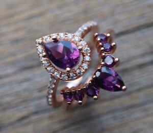 3.60Ct Pear Cut Purple Amethyst Halo Bridal Engagement Ring 14k Rose Gold Plated