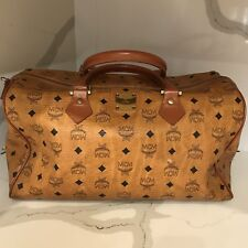 Vintage MCM Brown Logo Purse Duffel Bag Top Handle Germany Satchel X2636