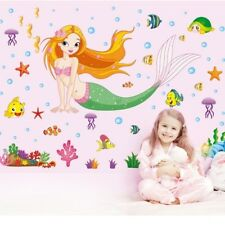 Mermaid Cartoon Removable Decals Wall Stickers Art Girls Kids Bedroom Decor New