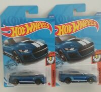 🔥2020 Hot Wheels 248/250 2020 FORD MUSTANG SHELBY GT500 BLUE Lot Of 2