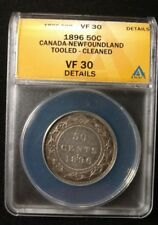 1896 Canadian-Newfoundland Silver 50 Cent Coin Graded by ANACS VF30 Details KM 6