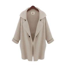 Womens Ladies Winter Wool Jacket Lapel OL Long Cardigan Office Work Trench Coat