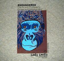 Center for GREAT APES Endangered GORILLA Art T-Shirt, Men's MEDIUM, Oatmeal NEW