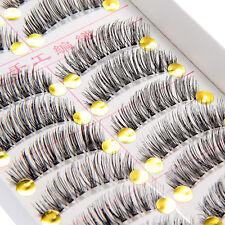 10 Paar Falsche Künstliche False Wimpern Eyelash Voluminöse Fake-Lashes Makeup