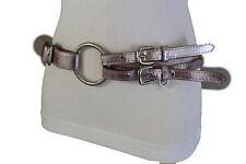 Women Fashion Belt Silver Metal Ring Buckle Hip Waist Metallic Pink Fabric S M