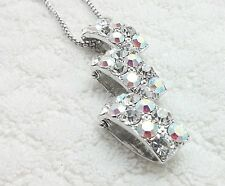 """AB Rhinestone Triple square Pendant Stainless Steel 23"""" Box Chain Necklace"""