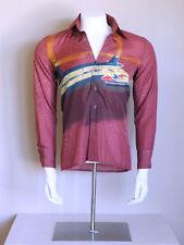 vtg 70s RARE signed disco atomic rocker SPACEPORT hipster NIK NIK op art shirt M