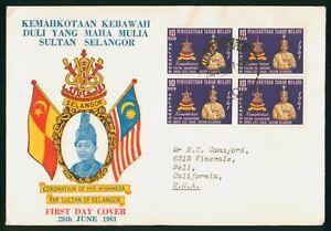 Mayfairstamps Malaya 1957 Selangor Sultan Coronation Block First Day Cover wwp79