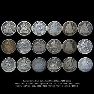 LIBERTY SEATED DIME LOT (18 PIECE SILVER DIME COLLECTION) RARE ISSUES