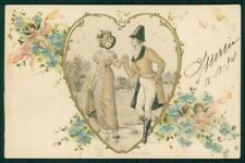 Art Nouveau Romantic Couple Heart Relief serie 8100 postcard TC4592