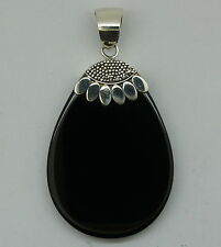 BLACK ONYX Genuine Gemstone in Sterling Silver 925 Fashion Pendant NEW