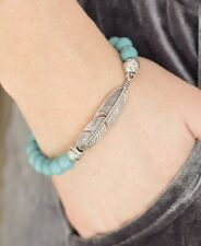 Take Wing Blue Stretch Feather Bracelet Great For Stacking!!