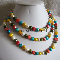 "50"" 8-10mm Multi Color Baroque Freshwater Pearl Necklace B U"