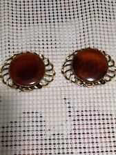 Vintage Set Signed MUSI Shoe Shirt Clips Clipons Gold Tone Round Amber Colored
