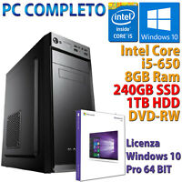 PC Ordenador Ensamblado Desktop Core i5-650 RAM 8GB SSD 240GB HDD 1TB Windows 10