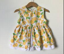 Vintage Small Steps Girls Dress Lemon Print Cotton Blend Baby Size 24 Months