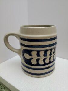 Williamsburg Pottery Salt Glaze Stoneware Mug Tankard Cobalt Blue Oak Leaf