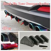 Carbon Fiber Style Black Car Lower Rear Bumper Lip Diffuser 4 Shark Fins Spoiler