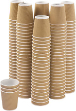 Set Of 150 Ripple Insulated Kraft 6 Oz Paper Cups Coffeetea Hot Cups Recy
