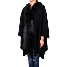 Women's Thick Long Solid Color Knit Winter Poncho-like Shawl Wrap Faux Fur