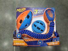 Nerf Dog Toy Set Crunch and Squeak Tuff Tug Ball Football, 3pc Set(See Discrpt.)