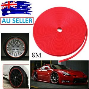 8Meter Red Car Wheel Hub Rim Edge Protector Ring Tire Guard Sticker Rubber Strip