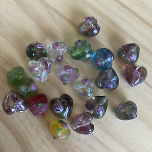 20 BUMPY MIXED HEART 10mm Lampwork Glass  Loose Beads Jewelry DIY Making