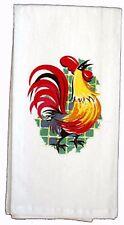 ReTrO Vintage Style Green ROOSTER Flour Sack Kitchen Dish Tea Towel Cottage