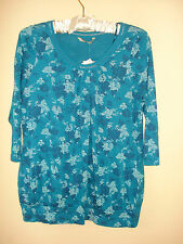 Bnwt new tu ladies stunning blouse top green/teal with floral detail size 14