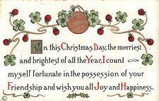 Old Christmas Motto Bordered by Four-Leaf Clovers & Holly-Copyright 1911 HM Rose