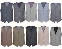 Ex-Branded Mens Tuxedo Wedding Waistcoat Formal Dress Cotton Gilet Coat Top