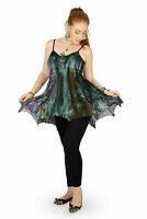 Black Grey Lace And Cotton Strappy Irregular Hem Pixie Tunic Top
