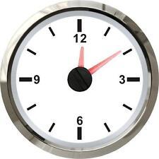 52mm Calibre Reloj Análogo De 12v cualquier coche gasolina diesel Van-Blanco Cara