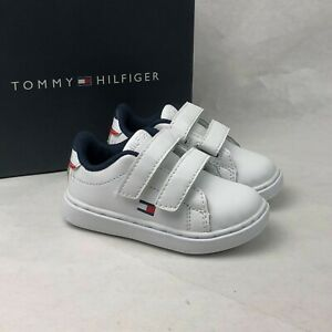 Tommy Hilfiger Toddler Kid's Iconic Court Alt Shoe TH100019T Hook and Loop White
