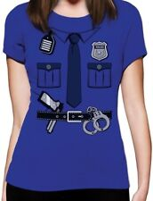 Halloween Easy Costume Police Cop Girl Women T-shirt Blue Size L - FAST SHIPPING
