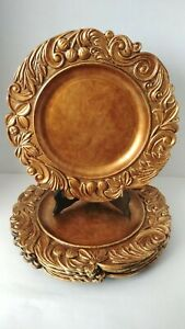 Set Of 5 American Atelier Aristocrat Antique Gold Charger Plates 14-inch
