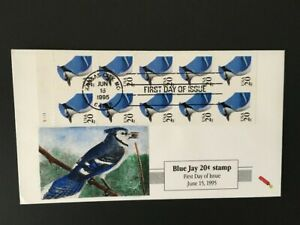 BLUE JAY Birds, Booklet pane of 10 stamps, 1995 First Day of Issue