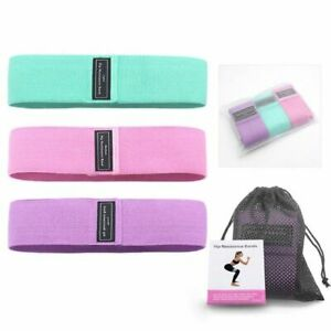 Fitness Rubber Resistance Bands 3 Piece Set Elastic Gym Exercise Home Workout
