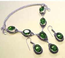 """Faceted Peridot 925 Silver Overlay Necklace & Earrings Set Jewelry 20"""" Inch S"""