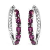 Platinum Over 925 Sterling Silver Rhodolite Garnet Hoop Hoops Earrings Ct 3.3