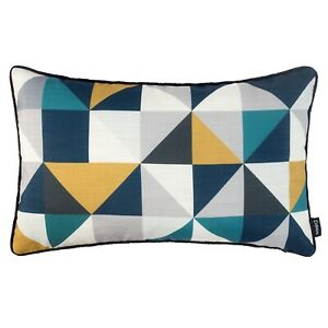 Oblong Geometric Cushion Mustard Yellow Grey Teal Navy Blue Cover Rectangle Sofa