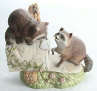Vintage Homco 1987 Masterpiece Porcelain Raccoons on Mailbox Figurine