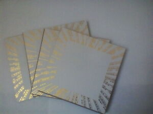 Set of 4 Square Hardwood Coasters White and Gold Table Cup Dining Mat Craft