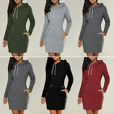 Damen Kleider Kapuzen Pullover Hemdkleider Kleid Short Minikleid Langarm Jumper