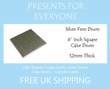 "2 x 6"" Inch Square Wedding Birthday Cake Drum / Board 12mm"