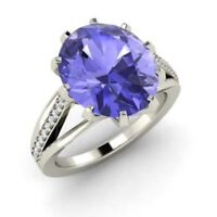 3.20 Ct Oval Natural Tanzanite Diamond Engagement Ring 14K White Gold Size K L M
