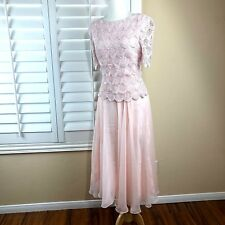Vintage 80s Pink Dress S M AfterDark Mother of The Bride Lace Chiffon